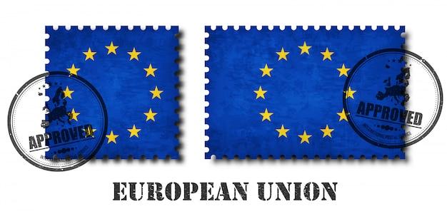 European union flag pattern postage stamp Premium Vector