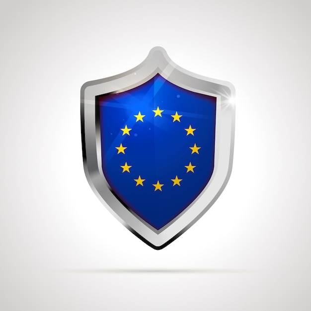 European union flag projected as a glossy shield Premium Vector