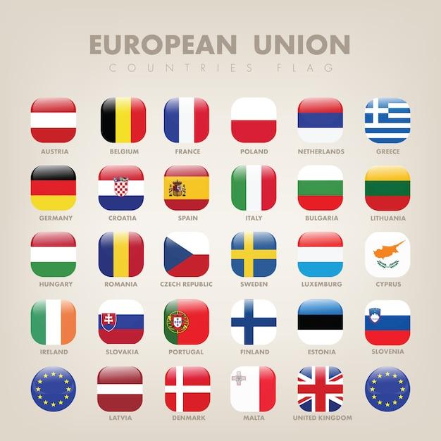 European union square flag collection Premium Vector