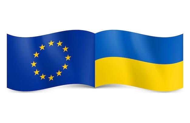 European union and ukraine. Premium Vector