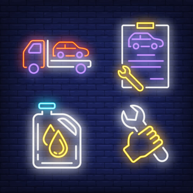 Evacuating car, wrench, clipboard and oil canister neon signs set Free Vector
