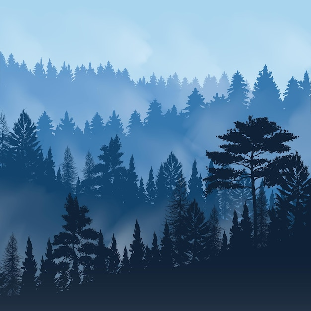Evening fog over tops of trees of pine forest Free Vector