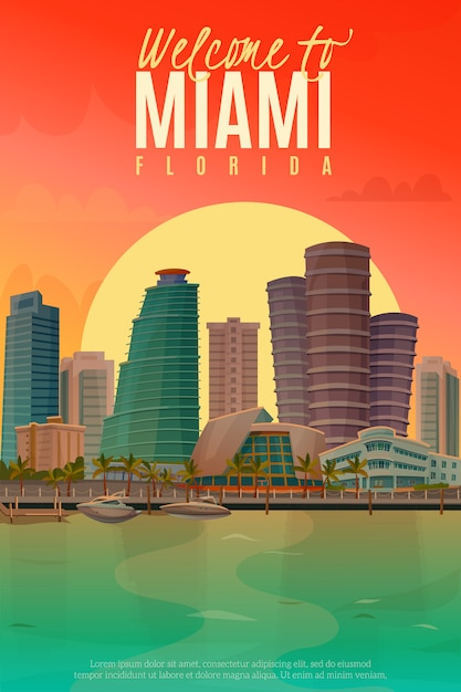 Evening miami poster Free Vector