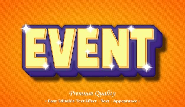 Event 3d editable text style effect Premium Vector