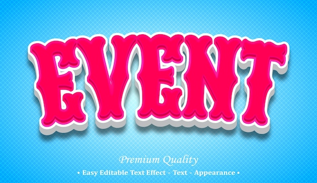 Event 3d editable text style effect Premium Vector