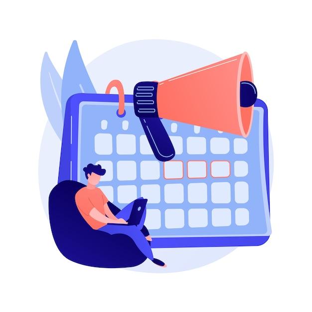 Уведомление календаря событий. проект фрилансера, срок сдачи, напоминание о встрече. календарь и мегафон изолированный элемент дизайна. иллюстрация концепции тайм-менеджмента Бесплатные векторы