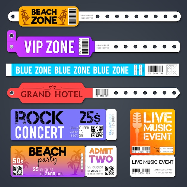Event entrance vector bracelets and stadium zone admission tickets templates isolated. bracelet for entry and admit to show concert illustration Premium Vector