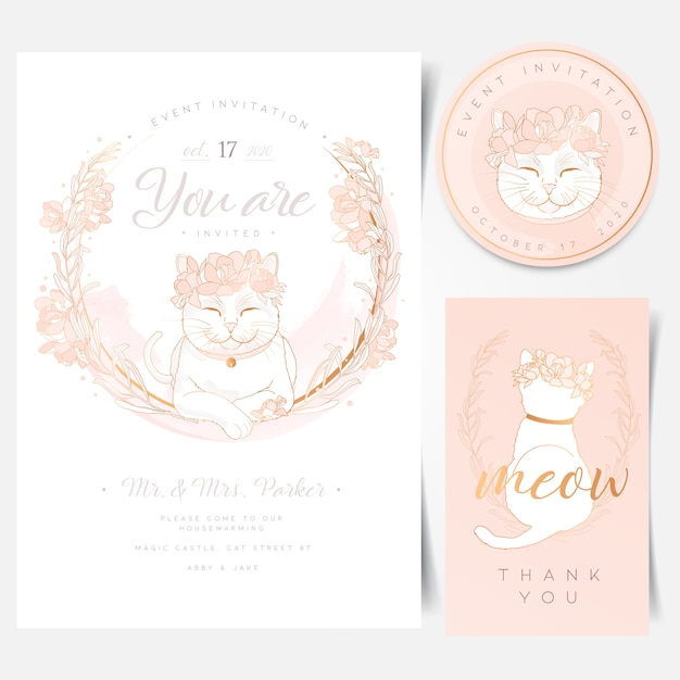 Event Invitation Card With Cute White Cat Logo Vector