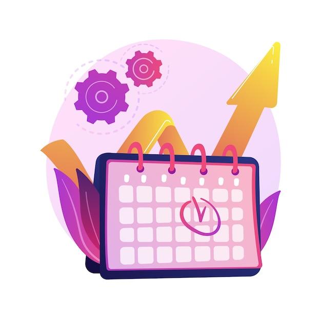 이벤트 관리. 성능 효율성, 시간 최적화, 알림. 작업 및 프로젝트 마감일 평면 디자인 요소. 약속 날짜를 상기시킵니다. 무료 벡터