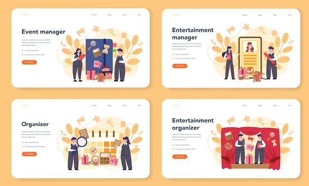 Менеджер событий или сервисный веб-баннер или целевая страница. организация праздника или встречи. планирование pr-компании для бизнеса. творческая современная профессия. Premium векторы