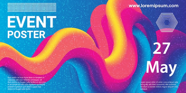 Event poster. party background. fluid flow. futuristic composition. liquid shapes. abstract cover .  illustration. Premium Vector