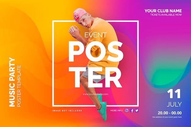 Event poster template with abstract shapes Free Vector