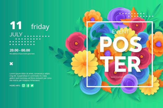 Event poster template with colorful paper cut flowers Free Vector