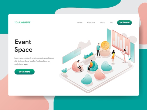 Event space isometric illustration. landing page Premium Vector