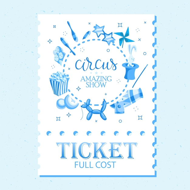 Event tickets for magic show in cartoon style with circus tent flags and editable text Free Vector