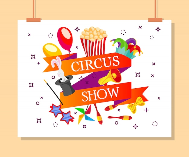 Event tickets for magic show in cartoon style with circus tent flags Free Vector