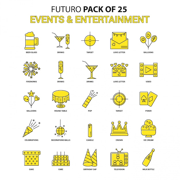 Events and entertainment icon set Free Vector