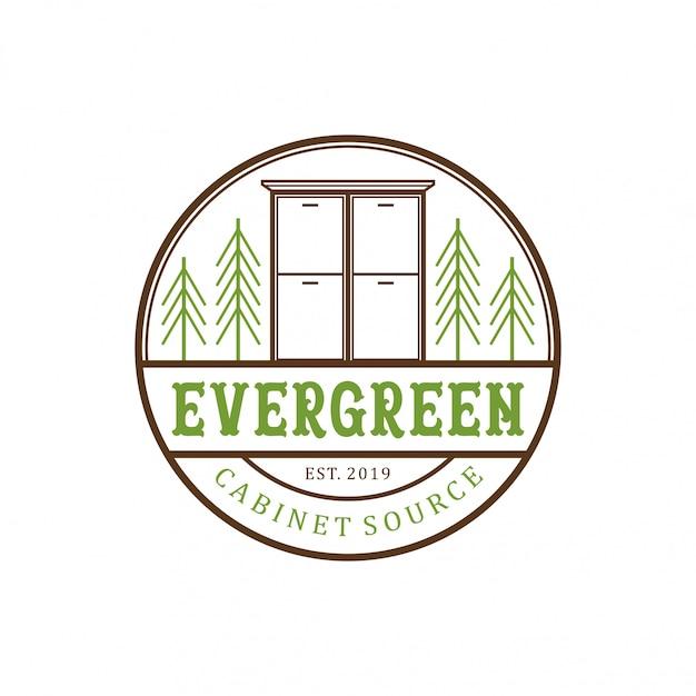 Вечнозеленый шкаф старинный дизайн логотипа Premium векторы