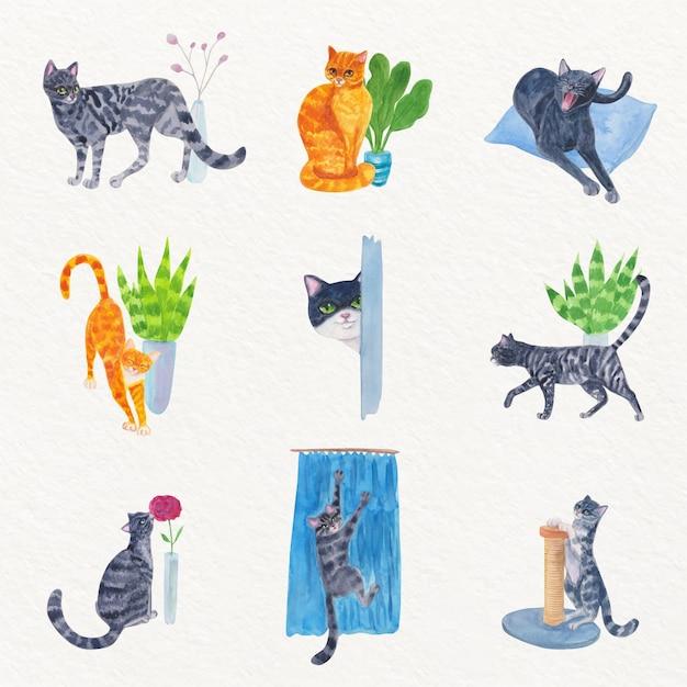 Ежедневные сцены с милыми кошками Premium векторы