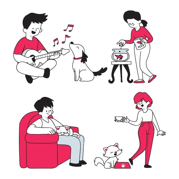 Повседневные сцены с животными в мультяшном стиле Бесплатные векторы