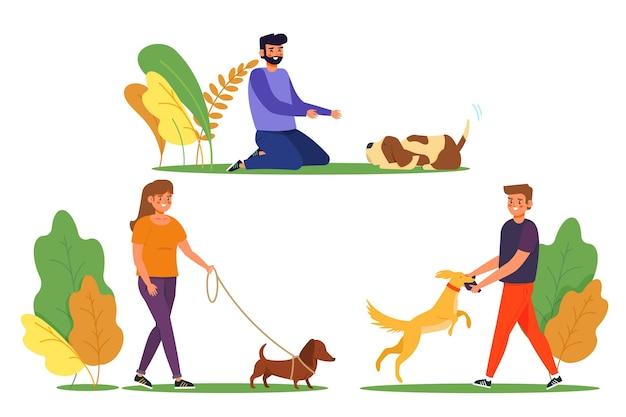 Ежедневные сцены с концепцией домашних животных с коллекцией собак Бесплатные векторы