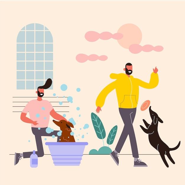 犬と一緒にペットのコンセプトがある日常のシーン 無料ベクター
