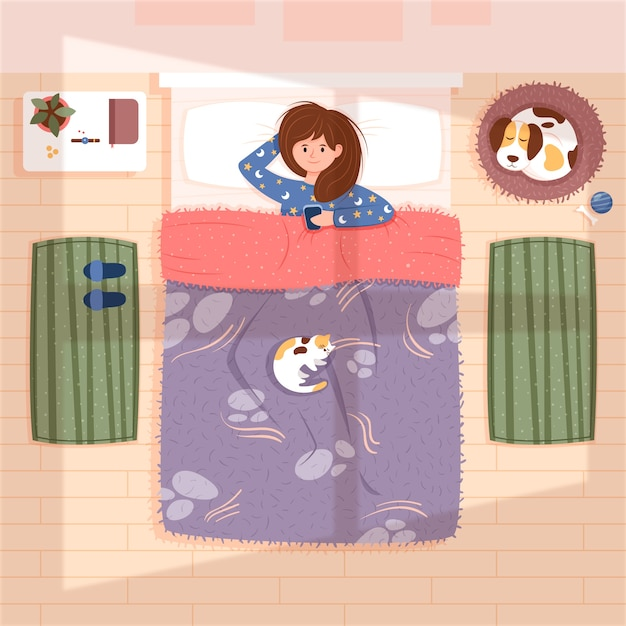 Everyday scenes with woman in bed Free Vector