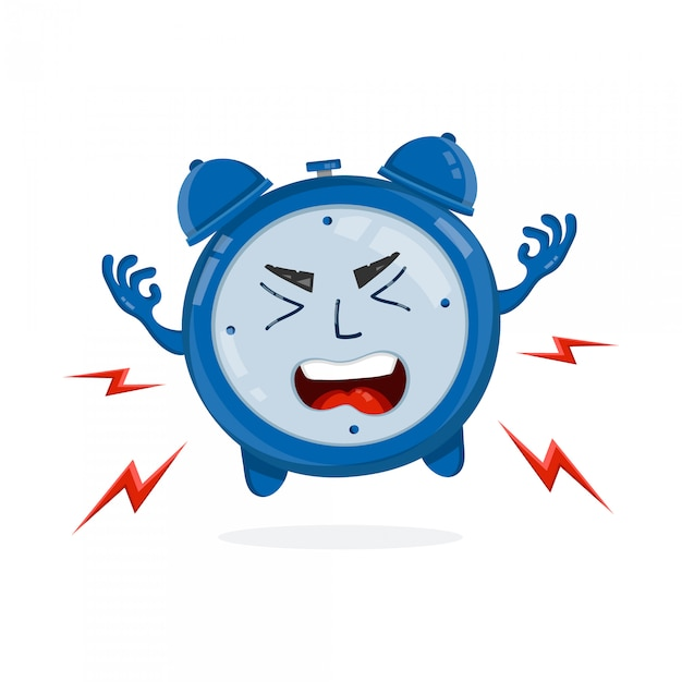Evil angry alarm clock.  flat illustration icon . isolated on white . morning Premium Vector