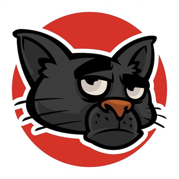 Evil cats head Premium Vector