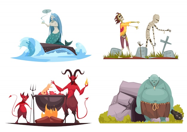Evil character concept 4 cartoon compositions with wicked sea witch tricking mermaid haunted cemetery isolated Free Vector