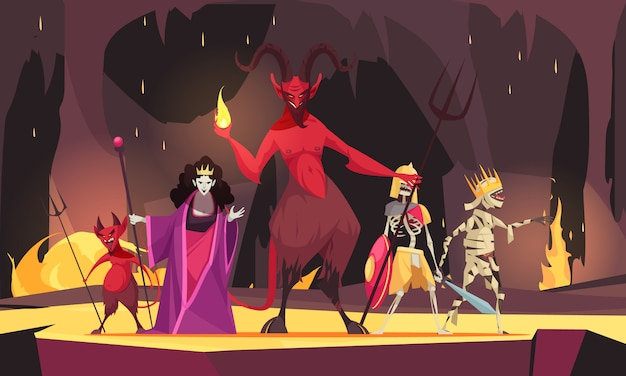 Злой персонаж мультяшной композиции с красным демоном из ада дьявол злая королева мрачная страшно Бесплатные векторы