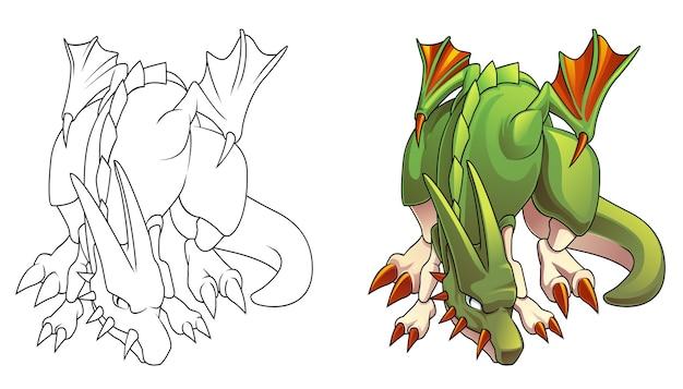 Злой дракон мультяшный раскраски для детей Premium векторы