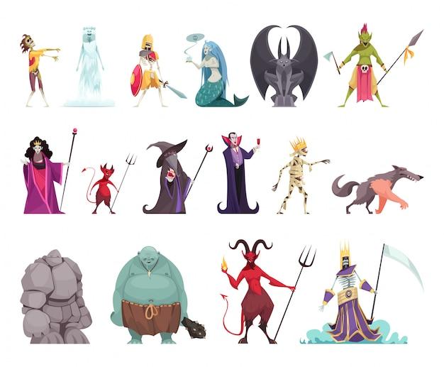 Злые сказочные персонажи с злой ведьмой мачехой королевой вампиров каменный человек дракон смешной красочный Бесплатные векторы