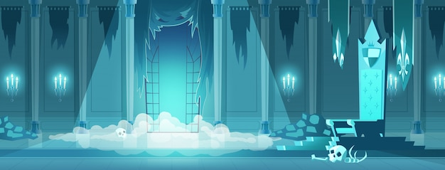 Evil king castle throne room cartoon Free Vector