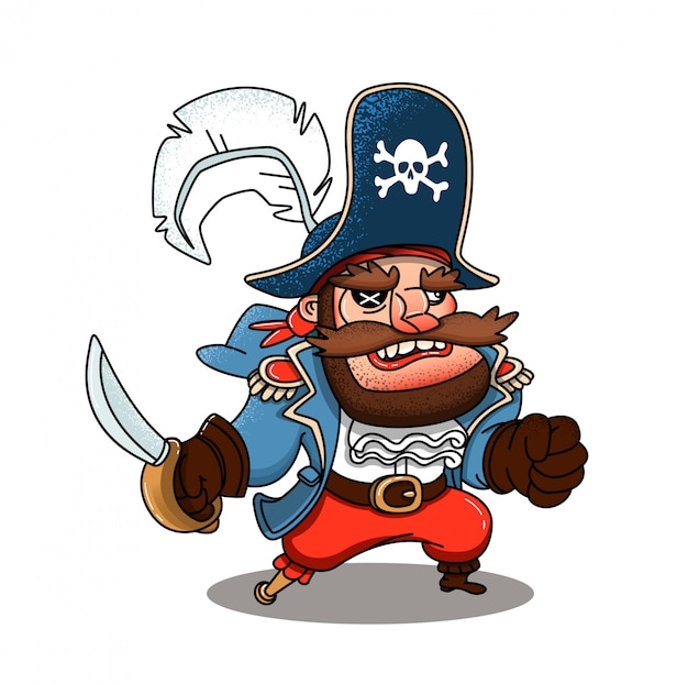 Evil pirate with a saber Premium Vector
