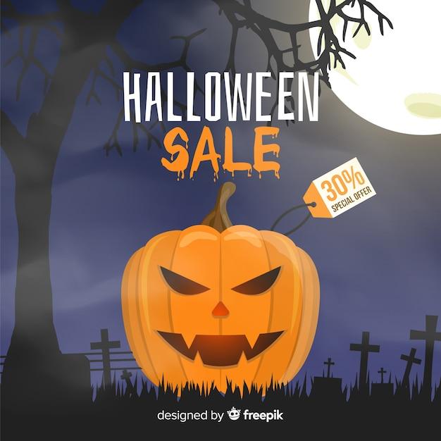 Evil pumpkin halloween sale on flat design Free Vector