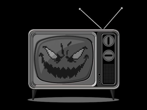 Evil retro television Premium Vector