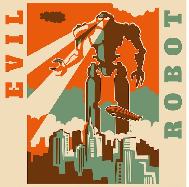 Evil robot Premium Vector