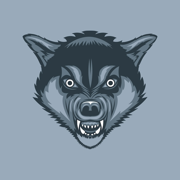 Evil and scary wolf Premium Vector