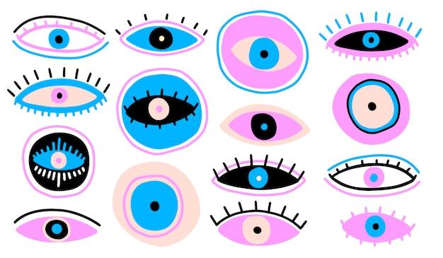 Evil seeing eye symbol naive set Premium Vector