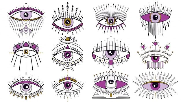 Evil seeing eye symbol set Premium Vector