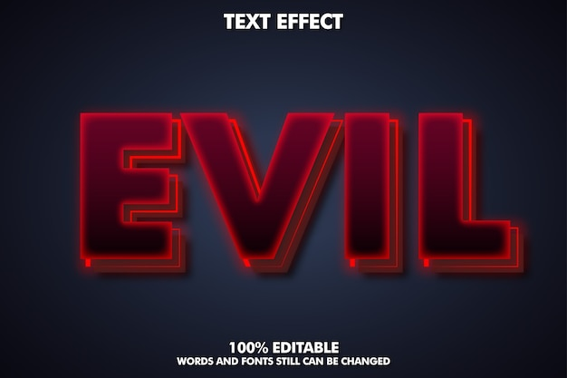 Evil text effect - creepy text style Free Vector