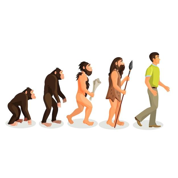 進化の類人猿から人間へのプロセスが分離されました。進化論は、解剖学的に現代の人間の出現につながりました。自然人類学、霊長類学、古生物学、進化心理学、遺伝的概念。 Premiumベクター