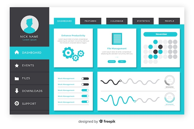 Evolution graphic dashboard template Free Vector