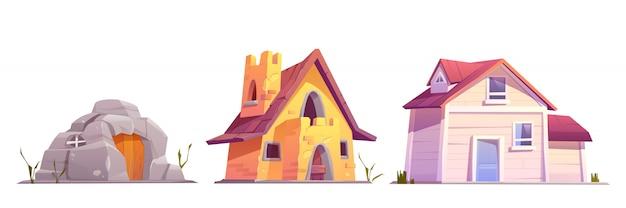 Evolution housing architecture set Free Vector