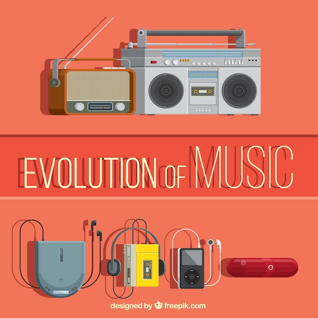 Evolution of music Free Vector