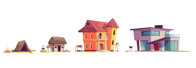 Эволюция архитектуры дома, концепция мультфильма Бесплатные векторы
