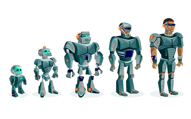 Evolution of robots, artificial intelligence technological progress Free Vector