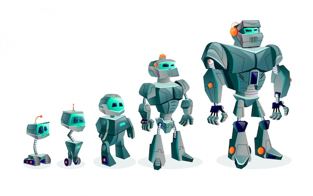 Evolution of robots, technological progress Free Vector