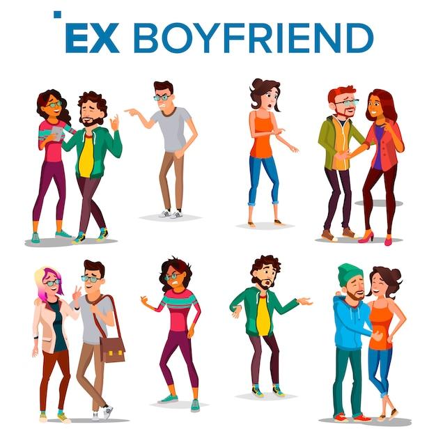 Ex boyfriend, girlfriend Premium Vector